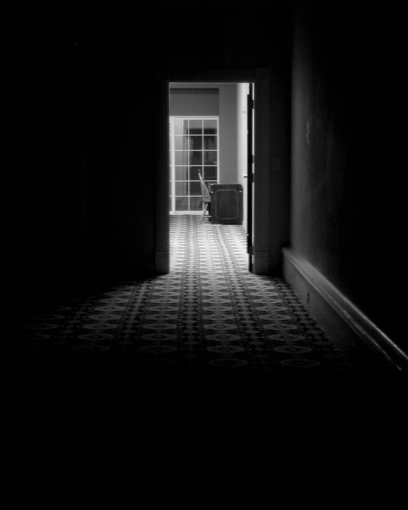 8x10 - Dark Passage - Black and White Noir, Photo Wall Art, Surreal, Minimalist Decor, Classic Horror Inspired, Single Light Hallway - 9thCycleStudios