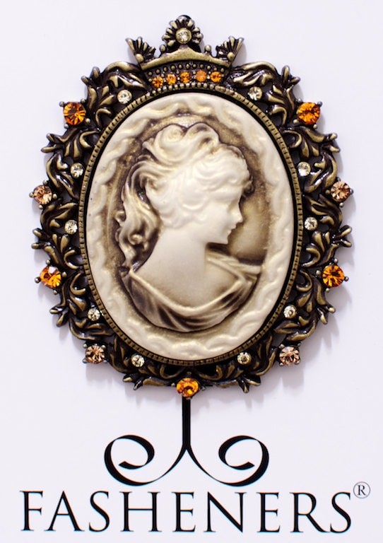 Downton Abbey inspired Framed Cameo Magnet Fashener Brooch (one-of-a-kind) - Fasheners