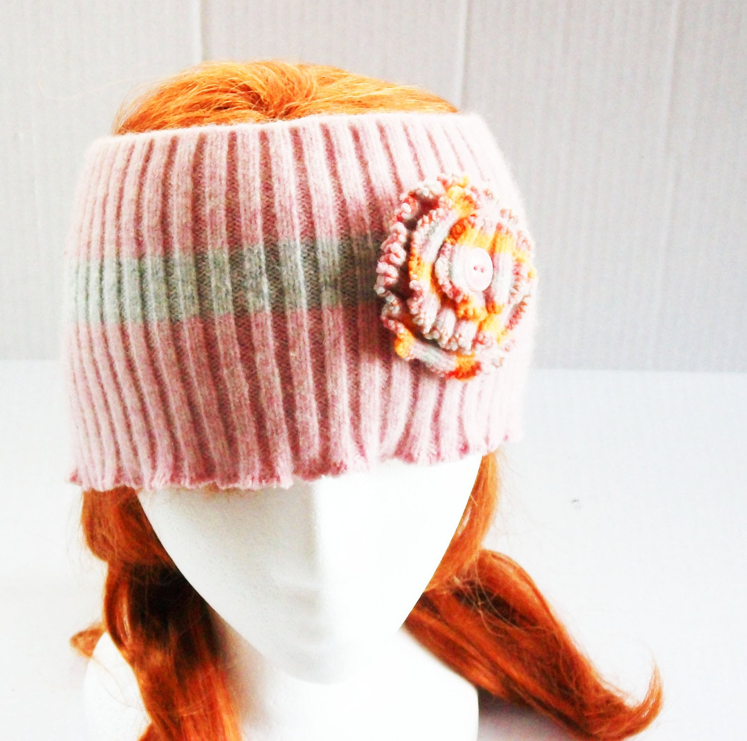 recycled wool sweater ear warmer cowl pink grey orange - RecycledandResewn