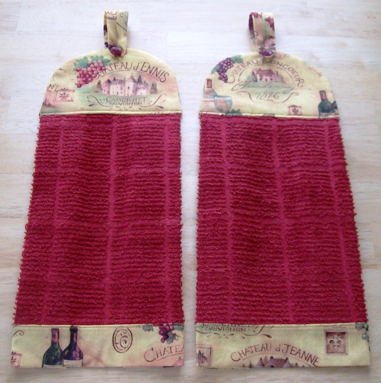 Kitchen Towels, 2 handmade with decorative fabric