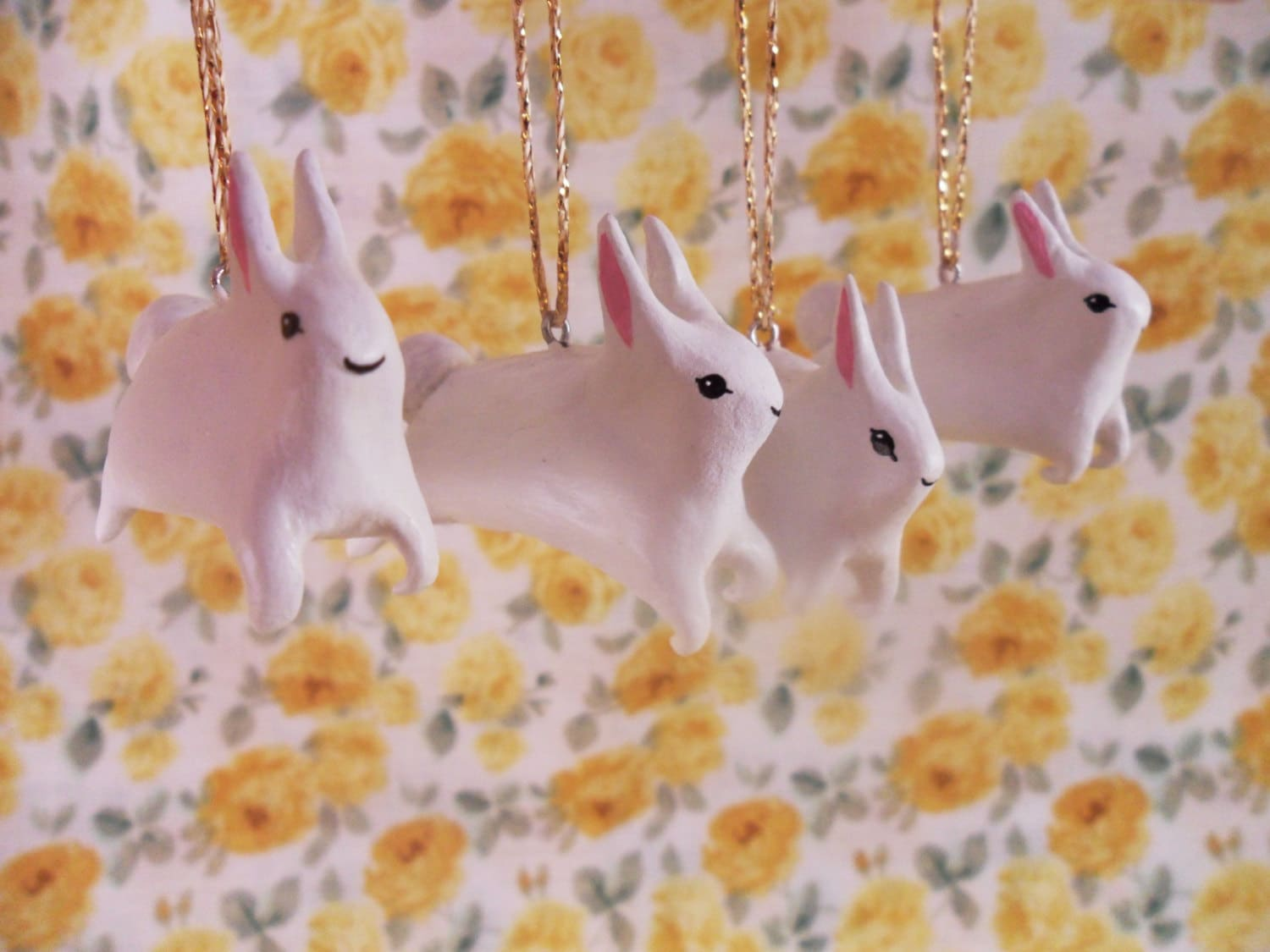Little White Rabbits - clay animal - home decoration - easter gift - bunnies - spring