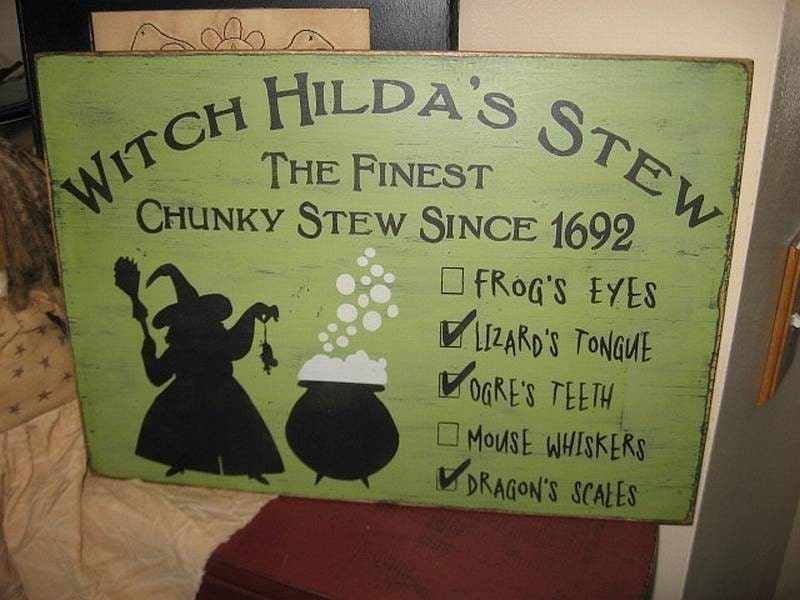 Witch Hilda's Stew Handpainted Primitive Wood by thehomespunraven