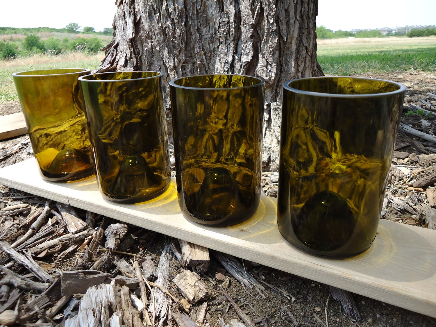 Recycled Wine Bottle Glasses Olive 12 oz  Set of 4