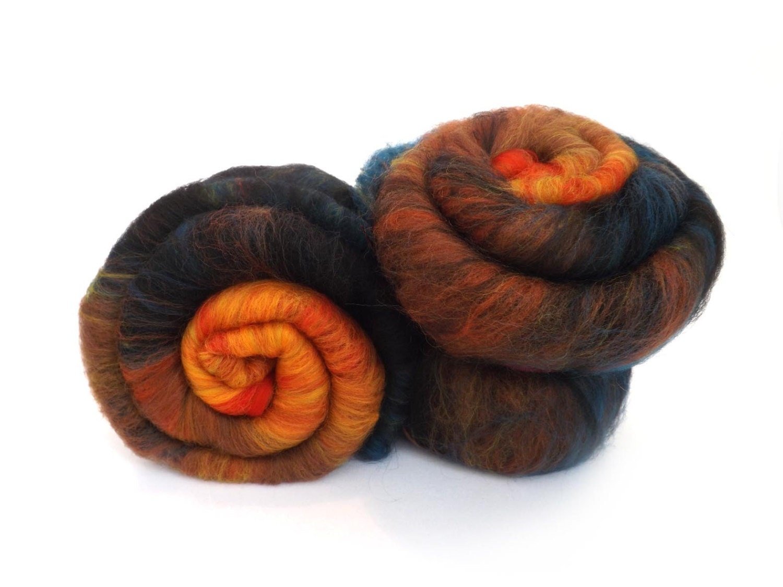 Batt - Orange - Teal - Merino wool - Tussah silk - Spinning - Felting - 100g - 3.5oz - ROOSTER - nunoco