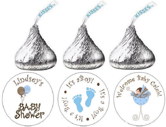 108 Baby Shower Hershey Kiss Stickers - Blue Boy Baby Carriage and Baby Feet Candy labels for Party Favors