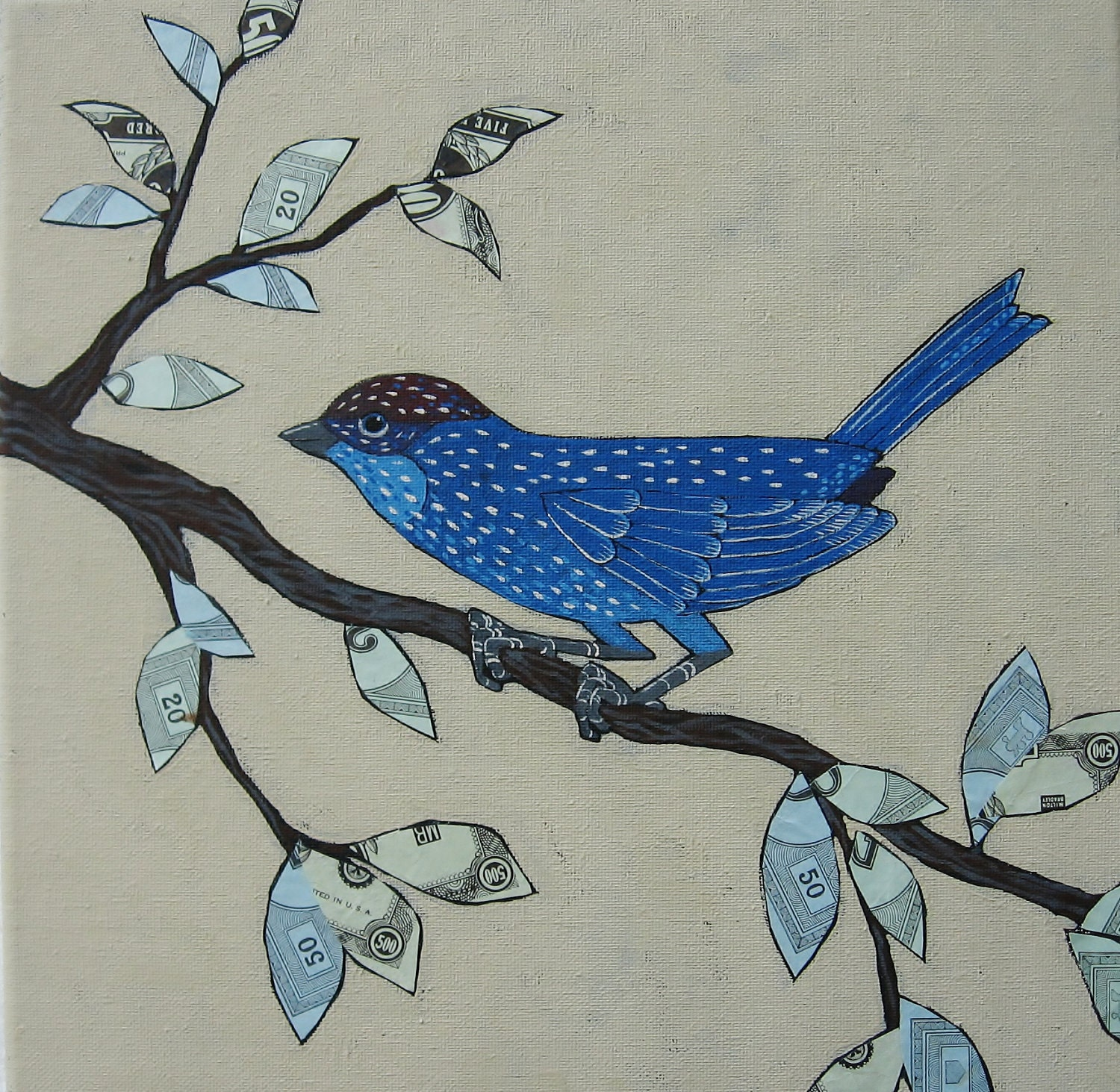 "Original Folk Art Painting with Vintage Paper Collage ""Blue Bird in the Money Tree"" - digiliodesigns"