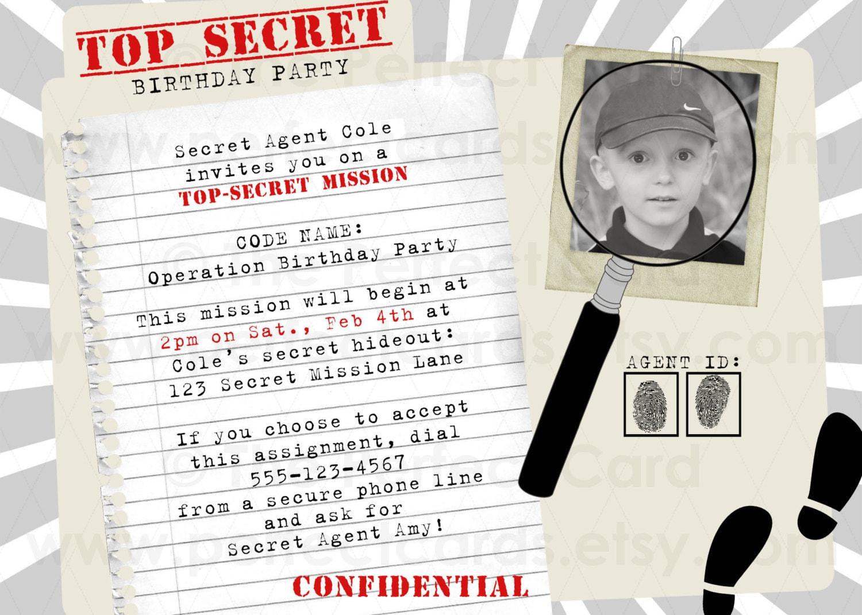 Birthday Party Secret Agent Invitations Spy Birthday Party – Spy Party Invitations