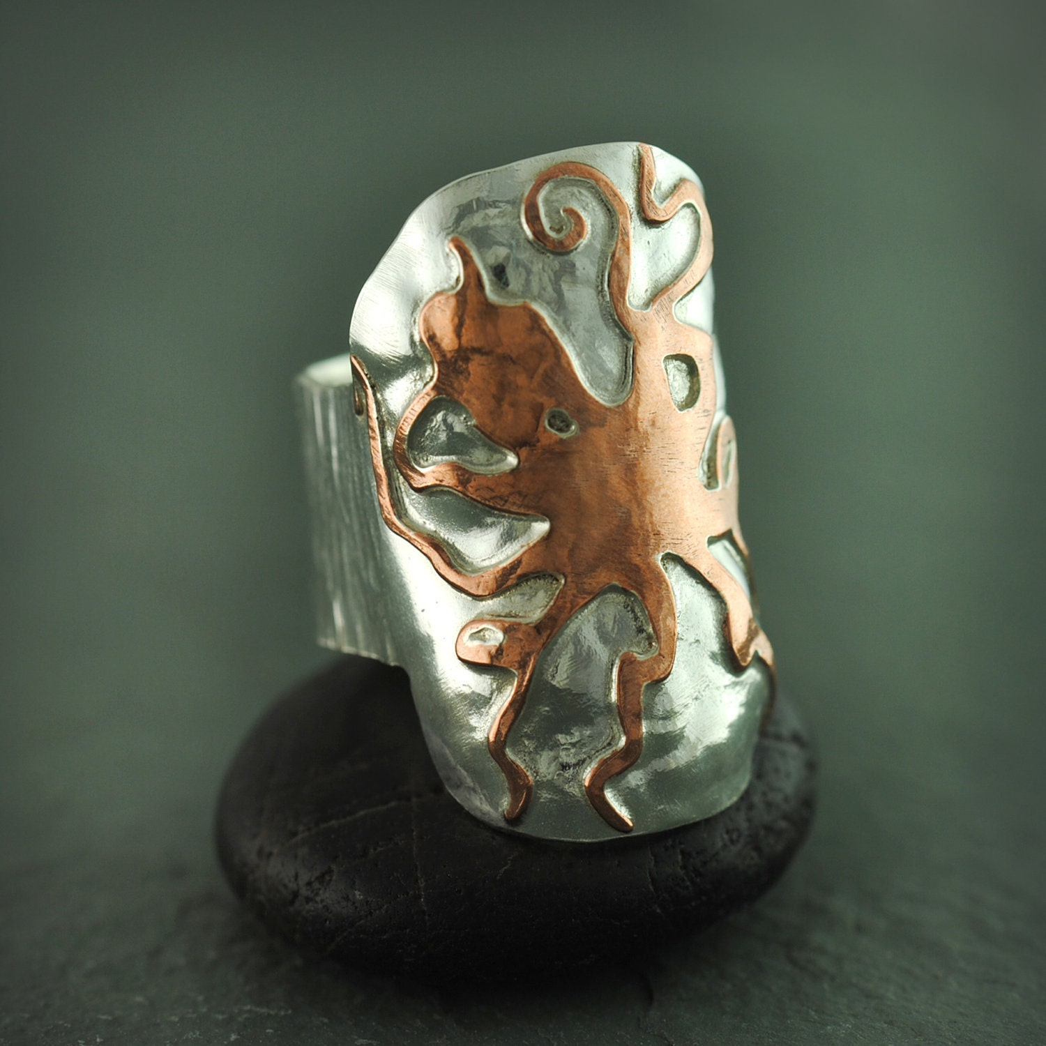Sterling Silver and Copper Octopus Ring - jewelrybynaomi