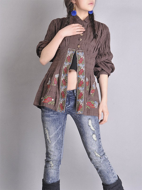 embroidered cotton tunic (fall fashion,longsleeved) Seed No.76