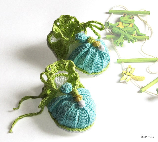 Baby summer sandals, crochet, size 0-3M