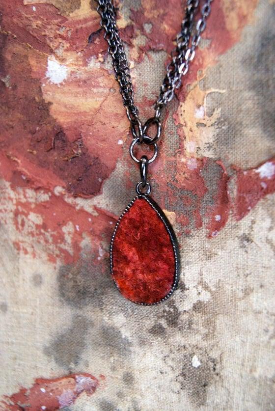 Terracotta Orange Brown Drop Shaped Pendant Gift 35. - elenasfelting