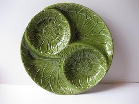 Large Avocado Green Sunflower California Pottery Round Serving Platter