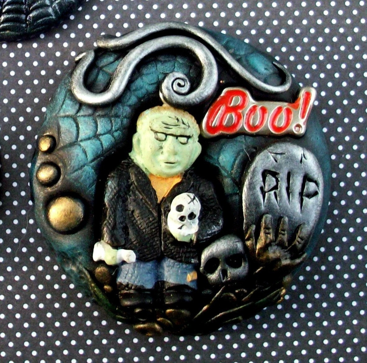 Halloween Jewelry Frankenstein Monster Polymer clay Pin