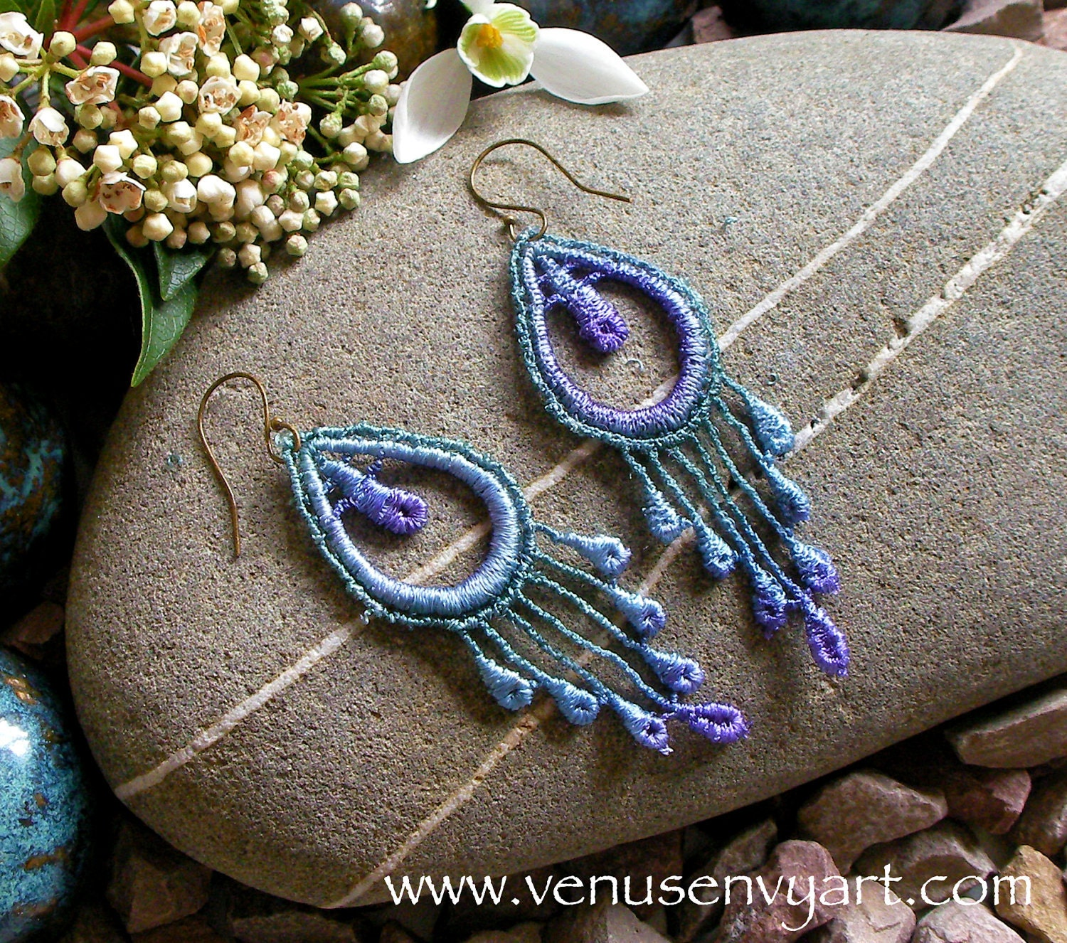 Lace Applique Earrings: 'Peacock Feathers' in Blue-Green-Purple Shades - venusenvyart