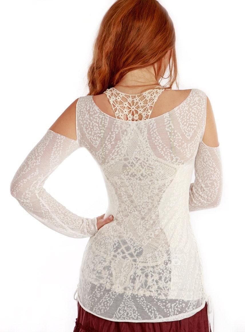 Белый сжечь длинным рукавом рубашки женщин, мягкие и удобные