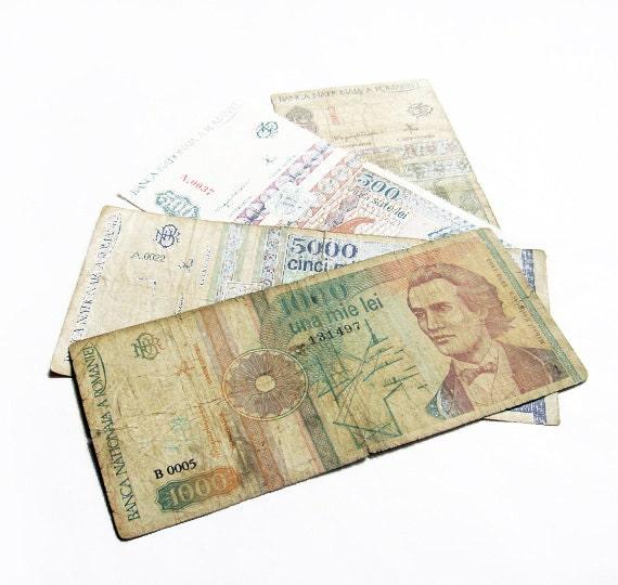 1991, 1992, 1993 bills - Set of Four Romanian Vintage Bills - Leu Romanesc - Vintage European Bills - Lot of four - wwvintage