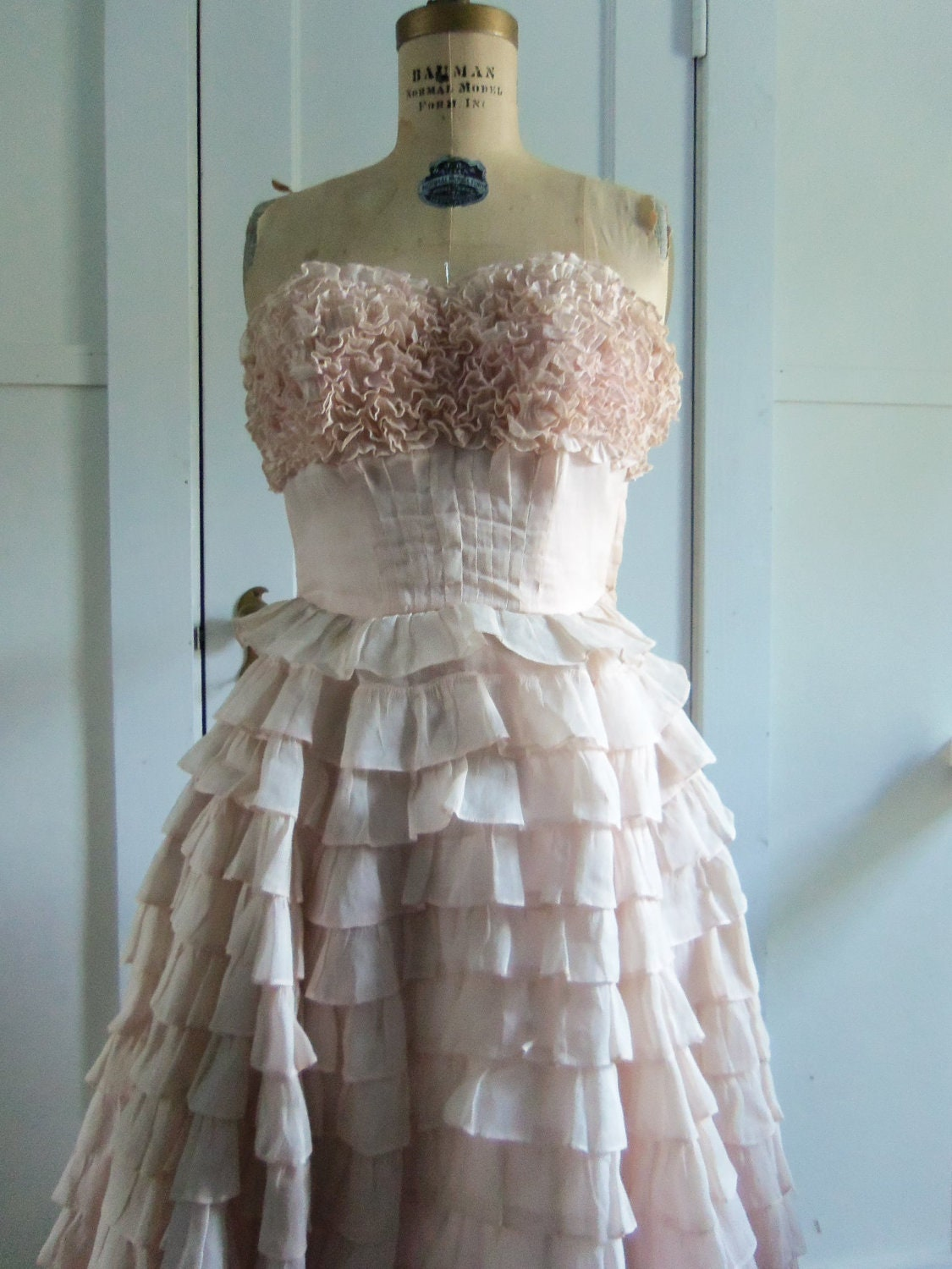 50's Southern Belle Ruffled Dress