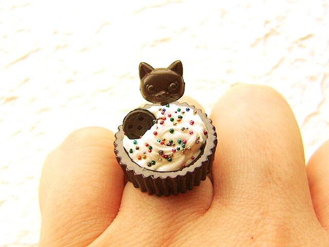 Food Ring Kawaii Dark Chocolate Cup Vanilla Ice Cream Cat Lollipop