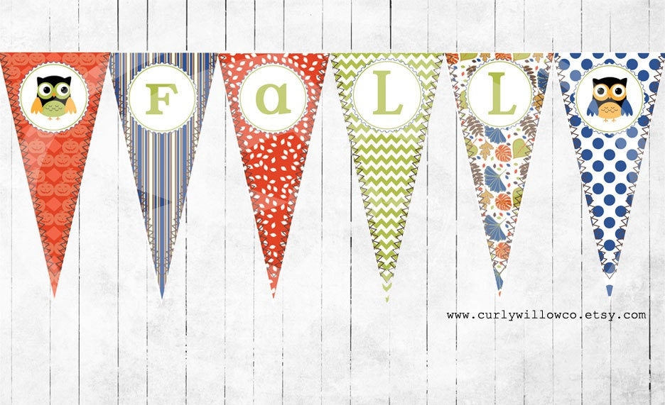 Fall, Printable Banner, Pendants, Owls, Leaves, Pumpkins