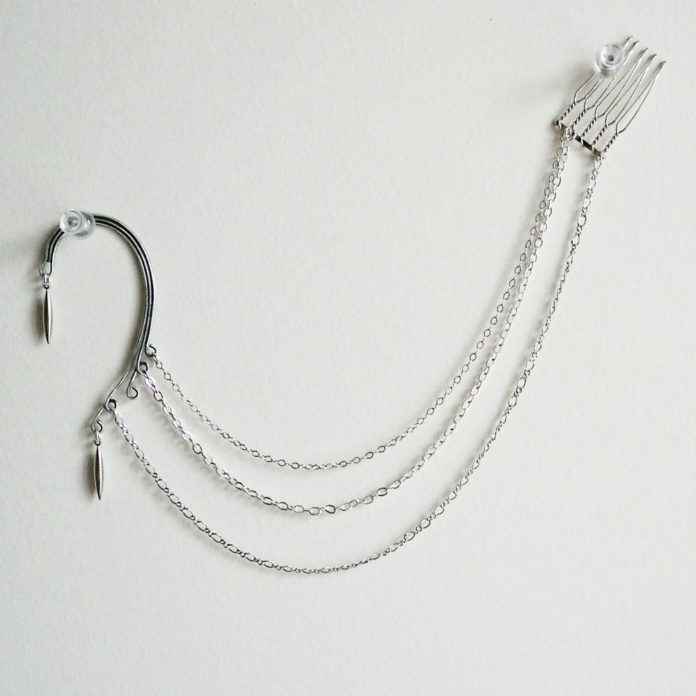Ear Chain Harness with Hair Comb in Silver