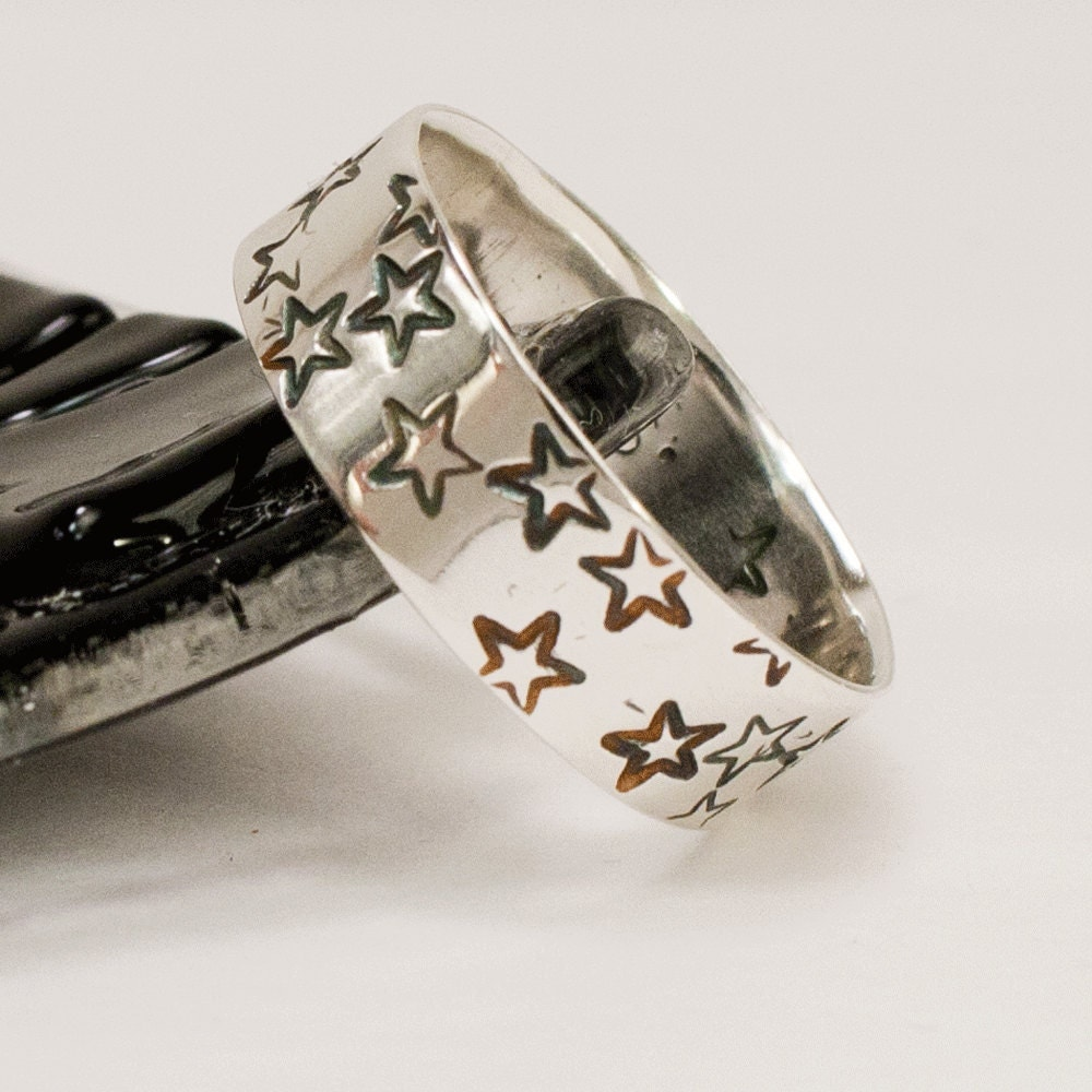 Stars Wide Ring Wedding Band by dashery on Etsy
