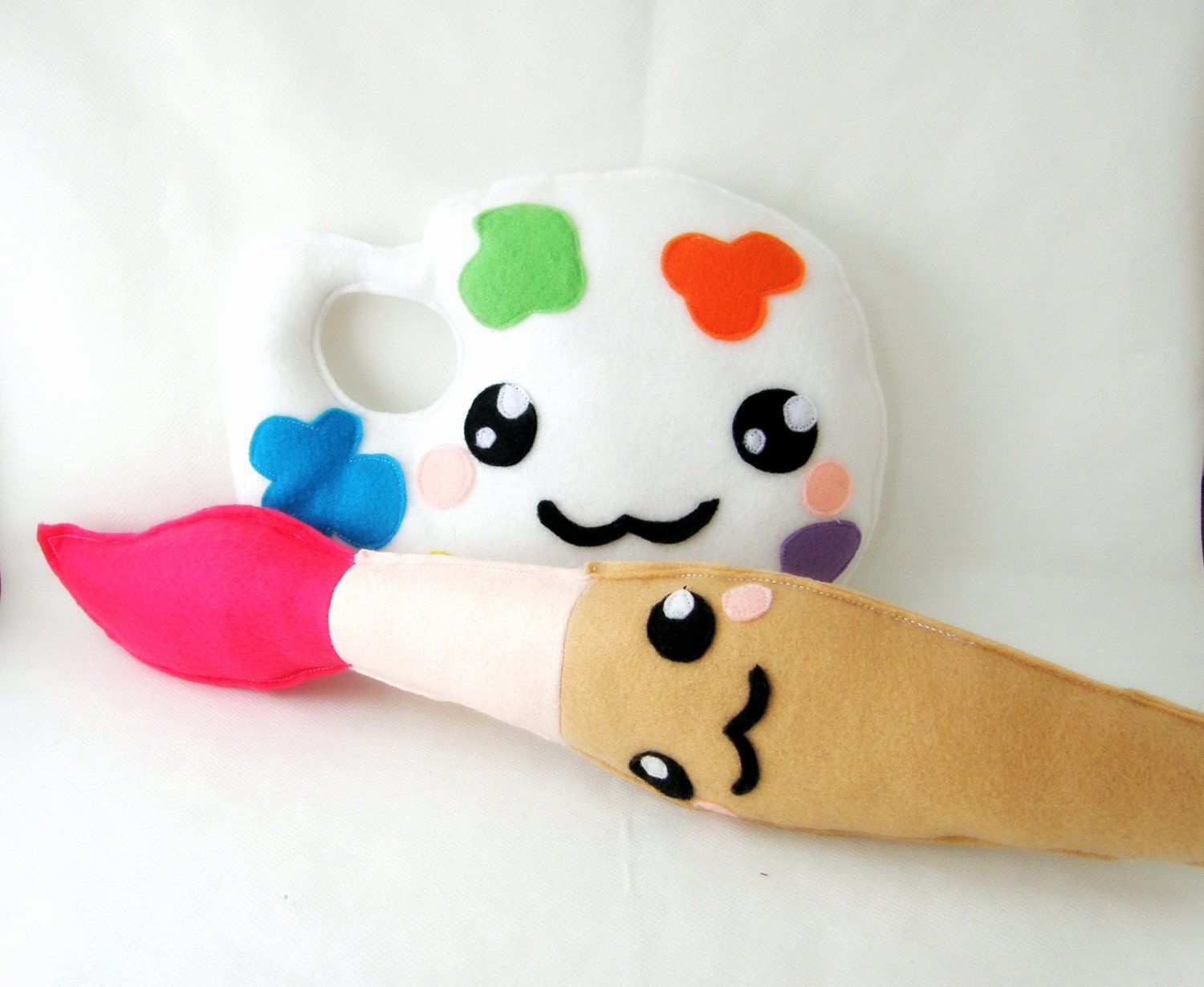 Painting brush and palette SET kawaii  felt plushies