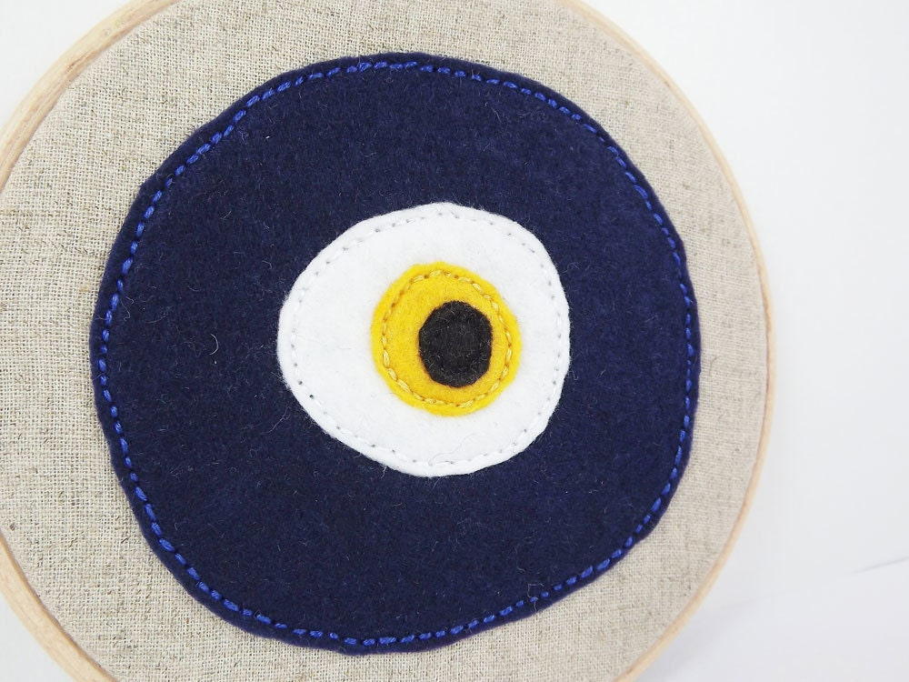 Embroidery Hoop Art  - Lucky Protective  Evil Eye - Nazar Wall Hanging - Wall Art - Royal blue - White - Yellow