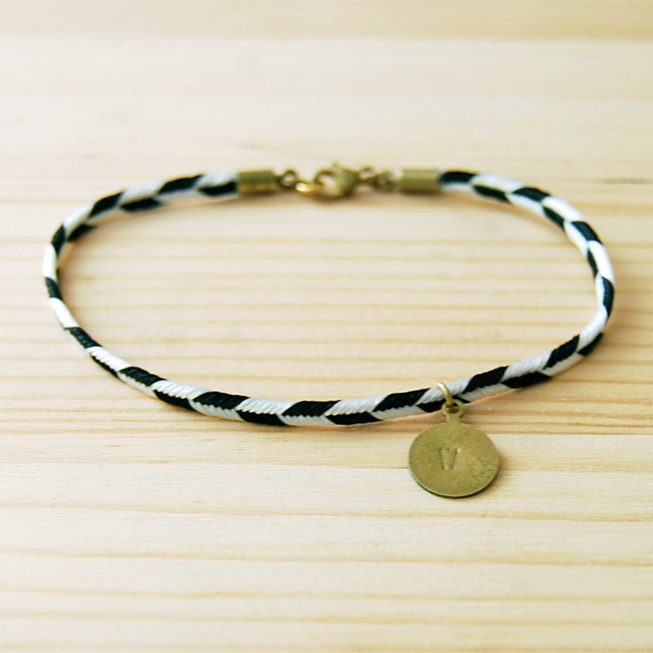 Lariat Layering Bracelet: Black & White Chevron