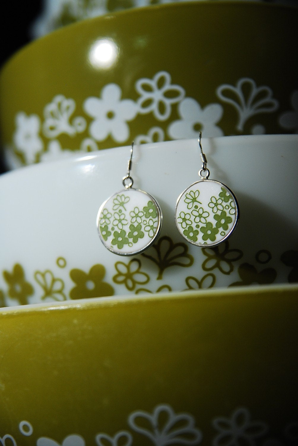 Perfect Gift for any Collector: Pyrex Corelle Green Spring Blossom Round Earrings
