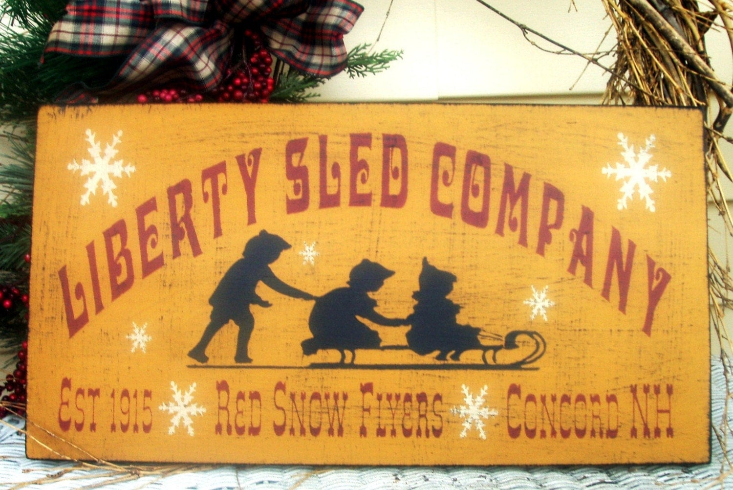 Liberty Sled Company primitive wood Christmas sign
