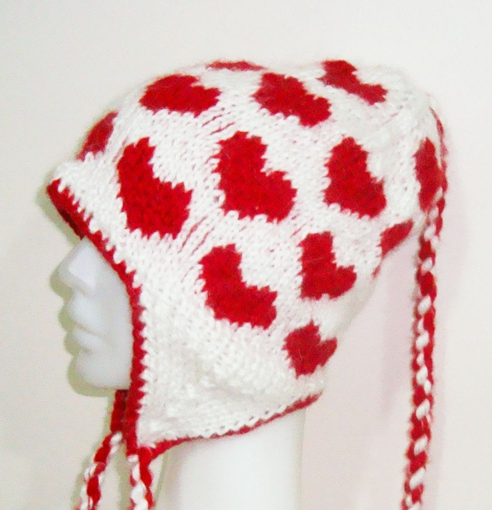 Valentines Day Red Heart Hat Ear flap Hand Knit Fashion Valentine Love