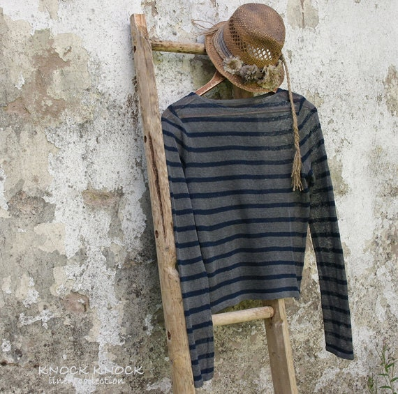 Custom Sheer Knit Linen Sweater In Stripe With Extra Long Sleeves - KnockKnockLinen