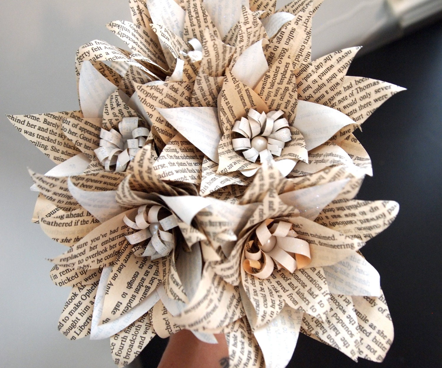 Shimmering white paper flower book bouquet, real fresh water pearl centers