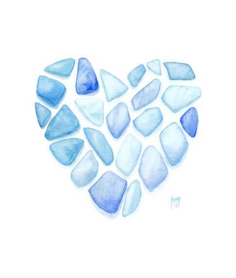Sea Glass Heart... Original watercolor painting- Blue ocean ombre - SandraOvono