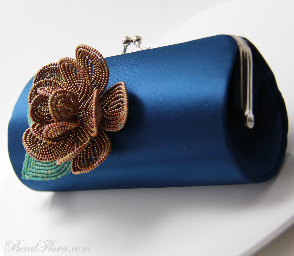 Clutch, royal navy blue satin- Bronze copper flower French beaded  clutch for brides, bridesmaids, prom, halloween party - BeadFloraJewels
