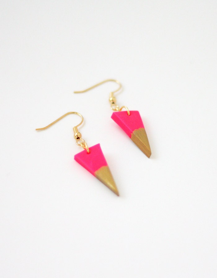 hot pink gold dipped triangle earrings