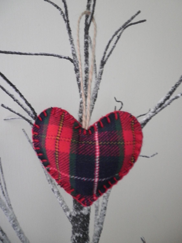 Red Tartan Handmade Wool Fabric Hanging Heart - Valentines Gift