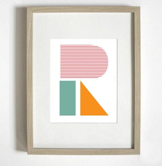 Geo R typographic Poster