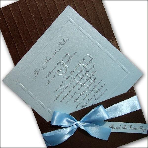 50 Customized Blind Embossed Monogram Wedding Invitations