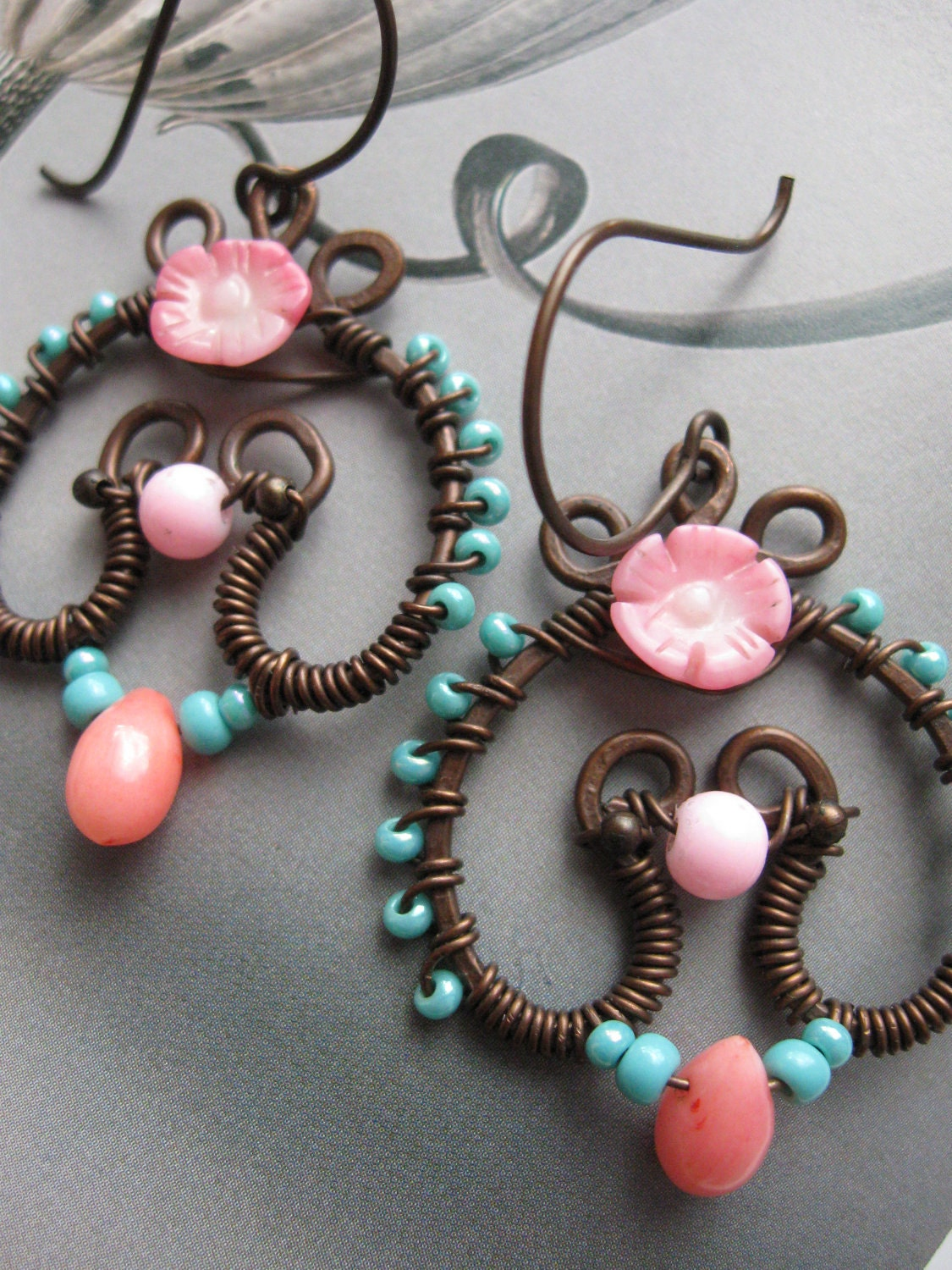 Wire Wrapped Copper Earrings with Coral Flower (hand formed, hand hammered, oxidized)