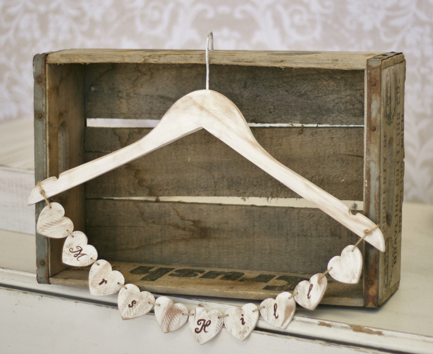 Personalized Wedding Dress Hanger Rustic Shabby Chic Decor