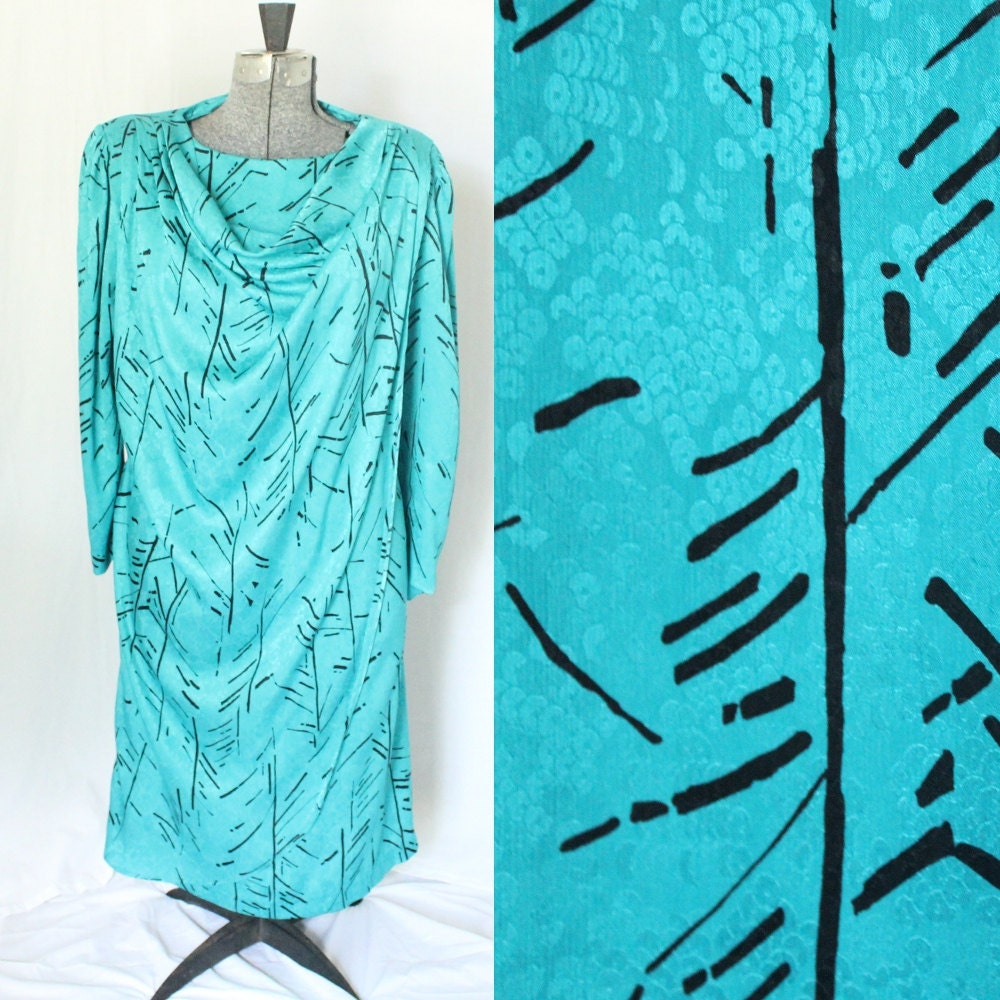 Teal Drape Dress - Size Extra Large