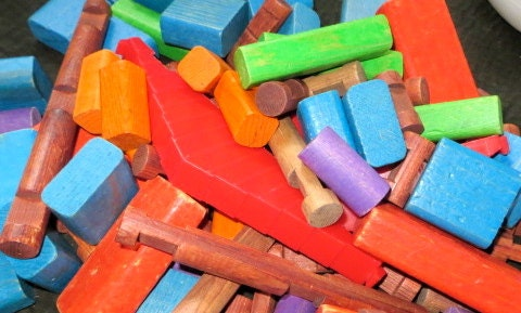 Vintage Wooden Learning Blocks, lincoln log, children vintage toys - oZdOinGItagaiN