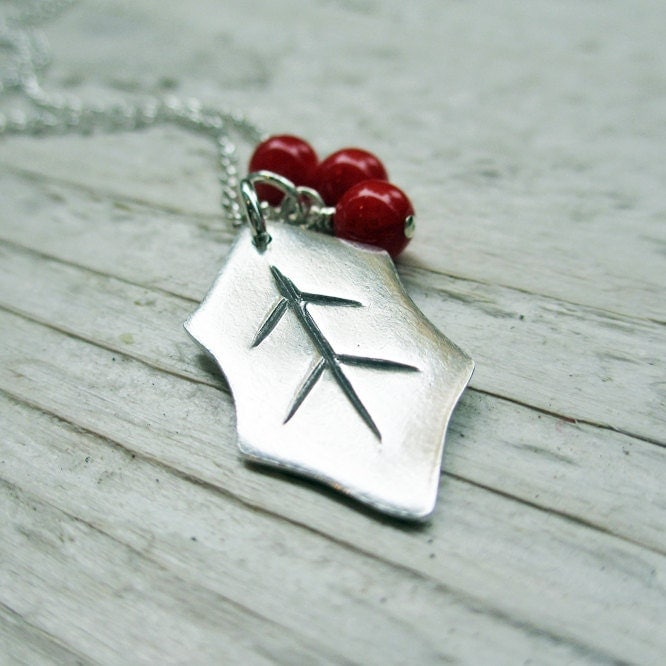 Holly Leaf Necklace - PMC Metal Clay, Sterling Silver, Red Coral Beads, Holiday, Christmas, Deck the Halls - BeadinByTheSea