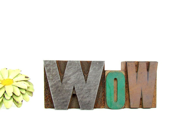 Vintage Wooden Letterpress Blocks 'WOW' - ArtfulVintage