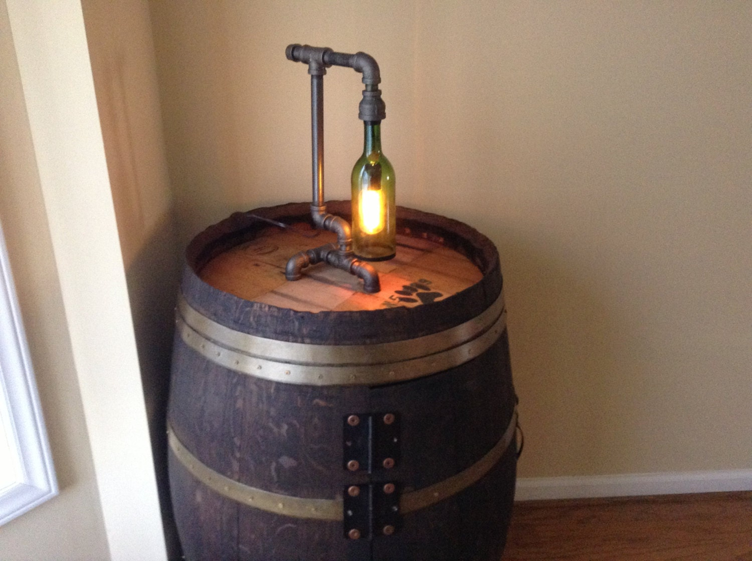 Items similar to black iron industrial pipe and wine for Black iron pipe lights