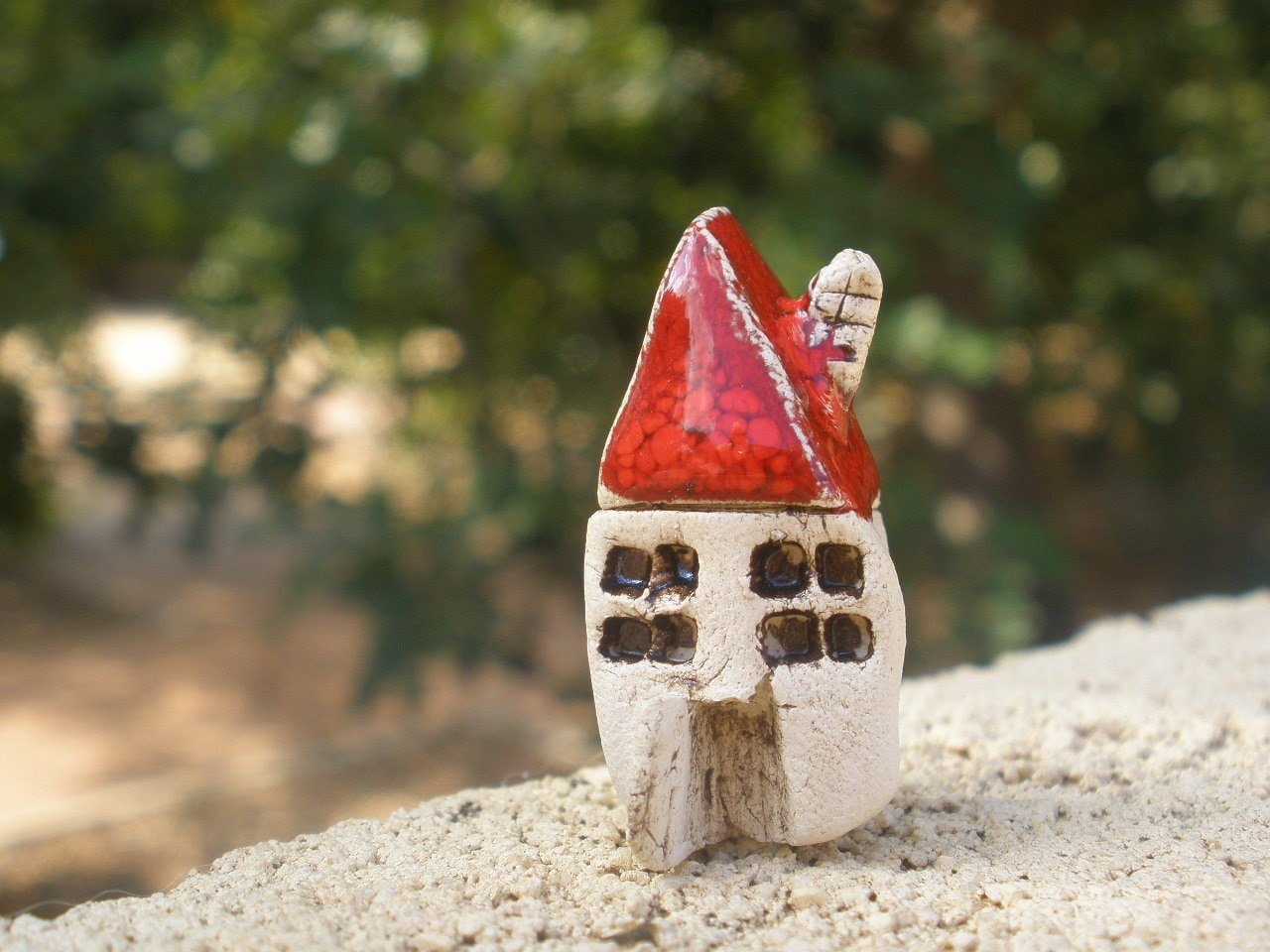 A  tiny rustic ceramic beach cottage in a color of your choice - Ceramic miniature houses Home decoration Collection  Little house tbteam