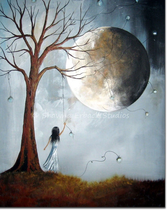 SURREAL ART PRINT blue moon girl dreaming dreamscape dead tree landscape grass medium wall decor 8x10 - shawnaerback