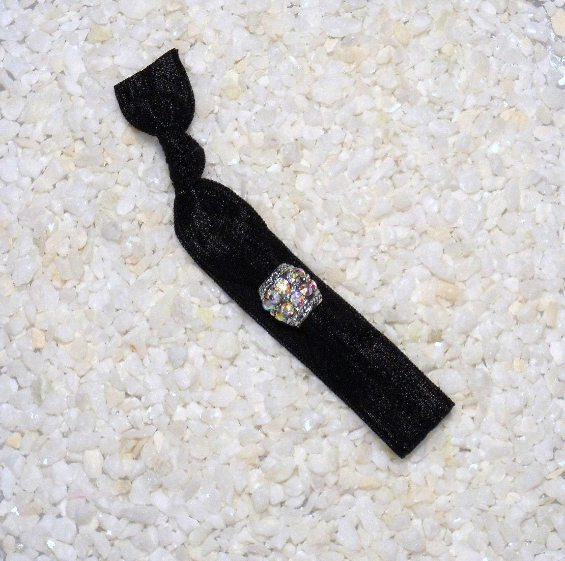 One Beaded Elastic Hair Tie - Black with Crystal Barrel Bead