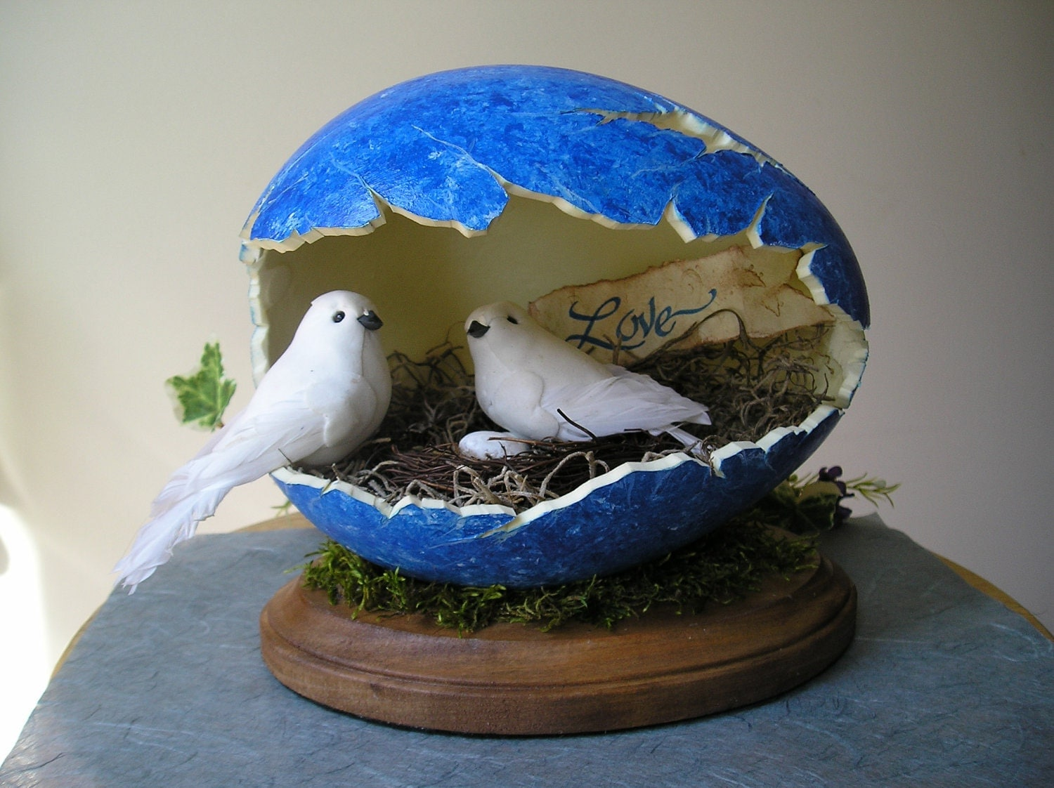 Love Birds in Carved Egg - purpleinkgraphics